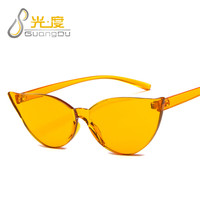 high quality women fashion 2020 trendy sunglasses green blue orange cat eye Skinny sun glasses frameless oculos de sol feminino
