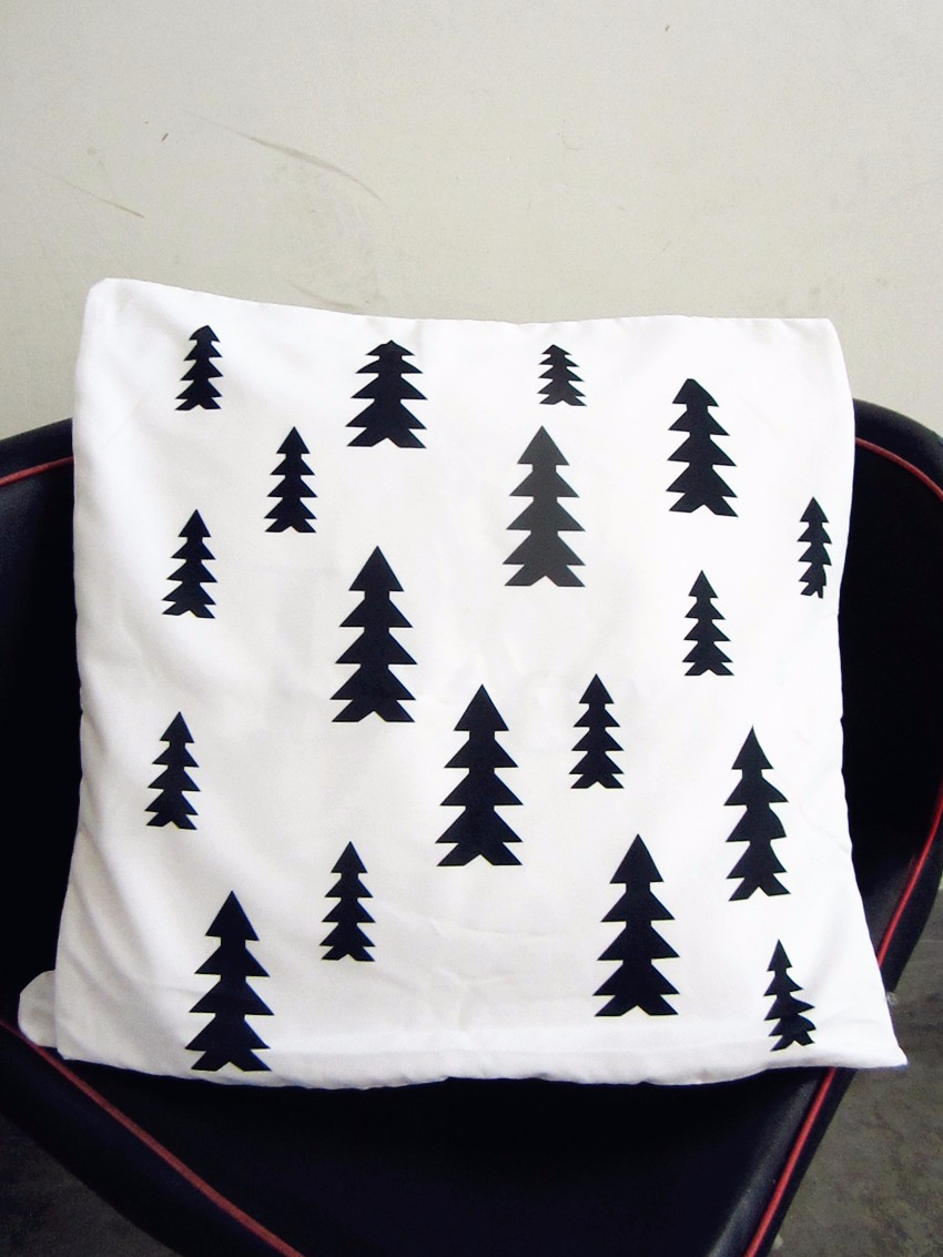 45cm 18inch black and white christmas pine tree throw for White craft pillow cases
