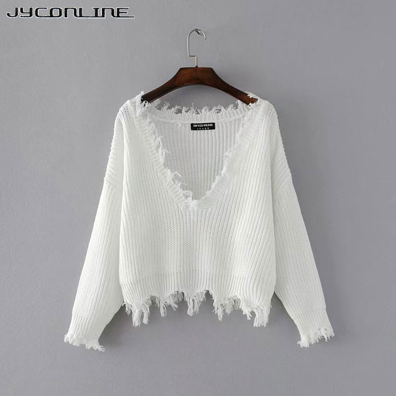 JYConline Sexy Knitted Sweater Women Jumper Black White V-neck Ripped Pullover Sweater Pull Femme Oversized Sweater Knitwear Top