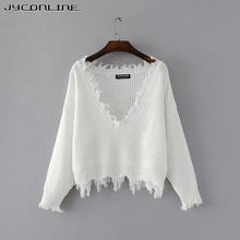 JYConline Sexy Knitted Sweater Women Jumper Black White V-neck Ripped Pullover Sweater Pull Femme Oversized Sweater Knitwear Top(China)