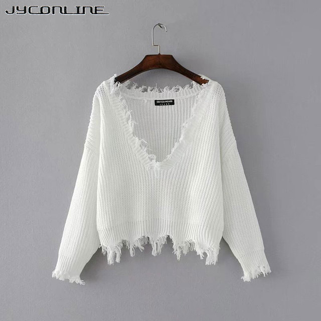 ee5d1da4cf JYConline Sexy Knitted Sweater Women Jumper Black White V-neck Ripped Pullover  Sweater Pull Femme Oversized Sweater Knitwear Top
