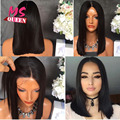 Heat Resistant Hair Black Color Straight Short Bob Synthetic Lace Front Wig With Baby Hair Middle Part Bob Wig For Black Women