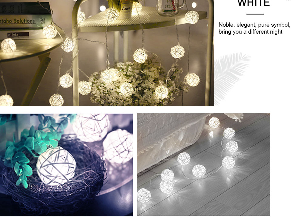 Rattan Balls LED String Lights Battery Garland Cotton Ball Light Chain Guirlande Lumineuse Holiday Christmas Lights Balls (11)