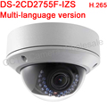 Multi-language version DS-2CD2755F-IZS 5MP WDR Fixed focus Dome Network Camera Support H.265,IP67,IK10,IR 30M,Audio