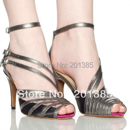 New Ladies Black Satin Grey Leather Straps Ballroom Latin Samba Salsa Dancing Shoes Sale Tango Dance Shoes Wholesale
