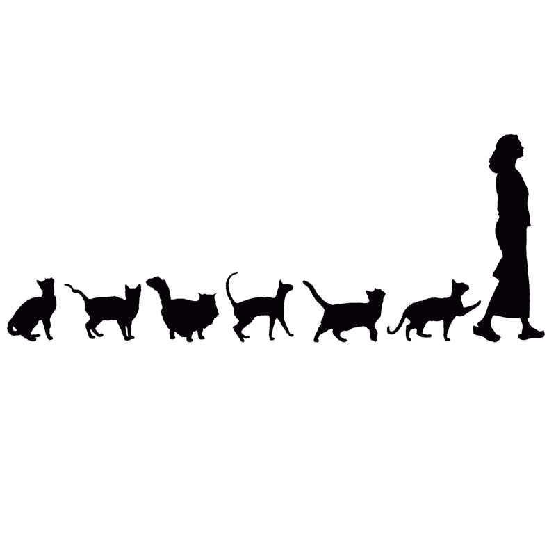 22.9*8.9CM Cats Following Woman Funny Car Styling Decoration Stickers Lovely Cool Cartoon Car Sticker C4-0736