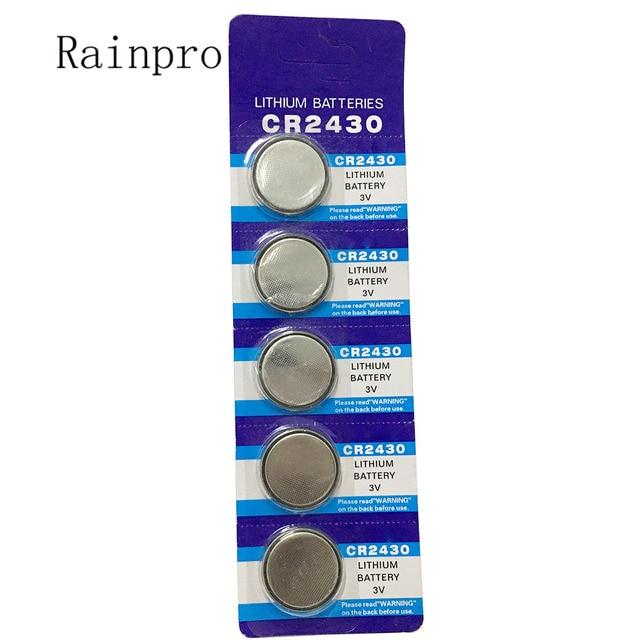 Rainpro 5 pz/lotto CR2430 2430 delle cellule della moneta 3V batteria al litio per il controllo remoto/contatore elettronico, ecc.