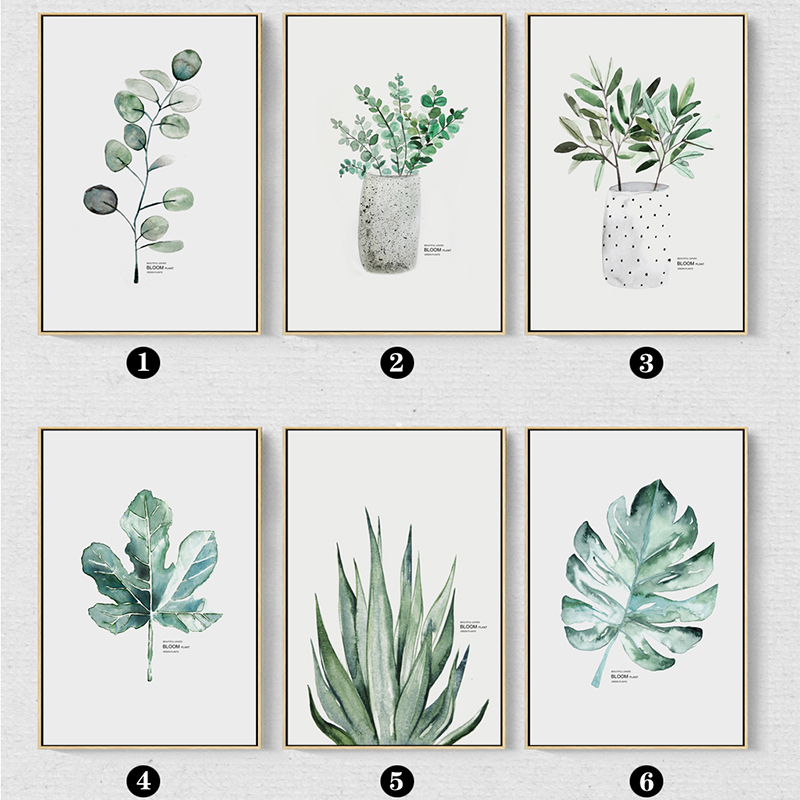 Watercolor Vase Green Plant Canvas Painting Art print Poster Picture Wall Modern Minimalist Bedroom Living Room Decoration in Painting Calligraphy from Home Garden