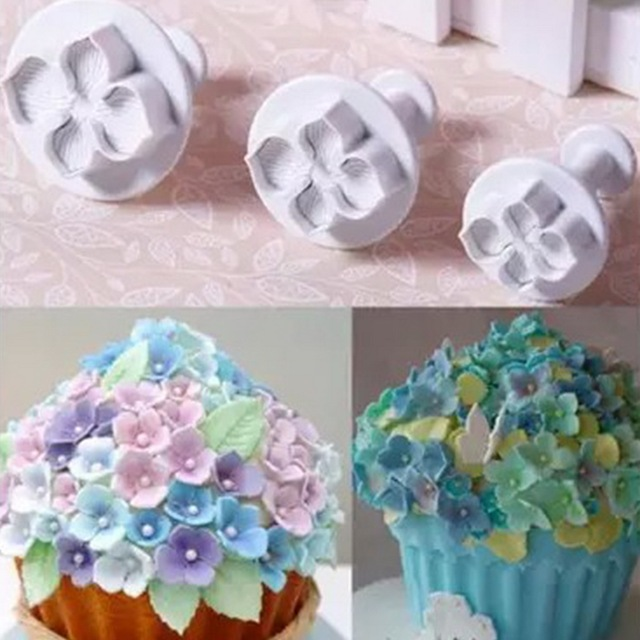 3Pcs/Set Silicone Hydrangea Fondant Cake Decorating SugarCraft Plunger Cutter Flower Blossom Mold Home Kitchen Bake Tool