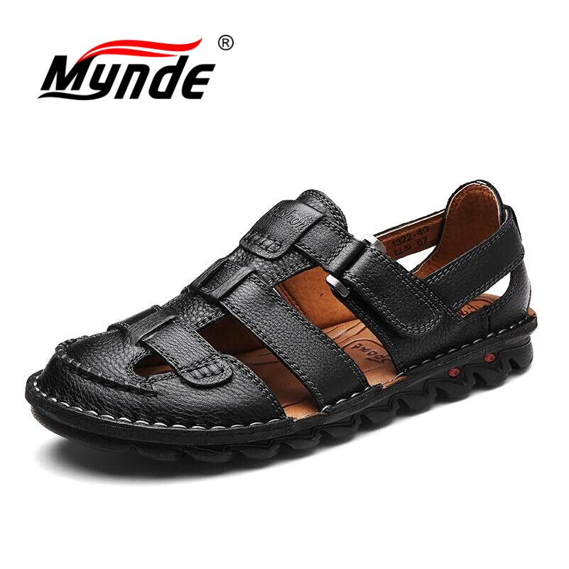 MYNDE Brand Genuine Leather Shoes Summer Men's Sandals Fashion Summer Casual Shoes Men Beach Sandalias Men Shoes Big Size 38-46 38 46 plus size summer shoes men sandals leather shoes men casual summer sandals men summer shoes