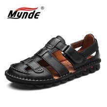 MYNDE Brand Genuine Leather Shoes Summer Men's Sandals Fashion Summer Casual Shoes Men Beach Sandalias Men Shoes Big Size 38-46