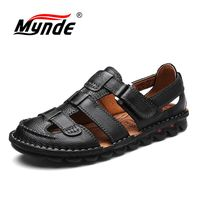 MYNDE Brand Genuine Leather Shoes Summer Men's Sandals Fashion Summer Casual Shoes Men Beach Sandalias Men Shoes Big Size 38 46