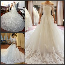 kejiadian lace boat neck royal train wedding dresses 2019