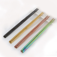 Wholesale Chinese dinner Chopsticks 4 pairs/set 22.5cm long rainbow Stainless Steel set best gift for wedding