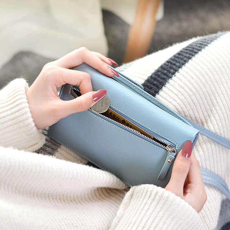 2019 Baru Wanita Kasual Dompet Merek Ponsel Dompet Besar Kartu Pemegang Dompet Dompet Tas Tangan Clutch Messenger Tali Bahu Tas