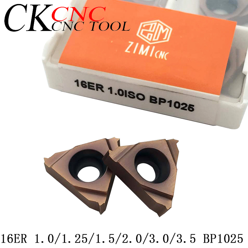10pcs 16ER 1.0 1.25/1.5/2.0/3.0/3.5 BP1025 High Quality Internal Turning Tool Carbide Insert For Threading Tool Boring Blade