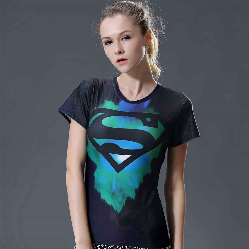 Wome Superhero short-sleeved T-shirt American new adventure 3D shirt ladies armor compression fitness T-shirt