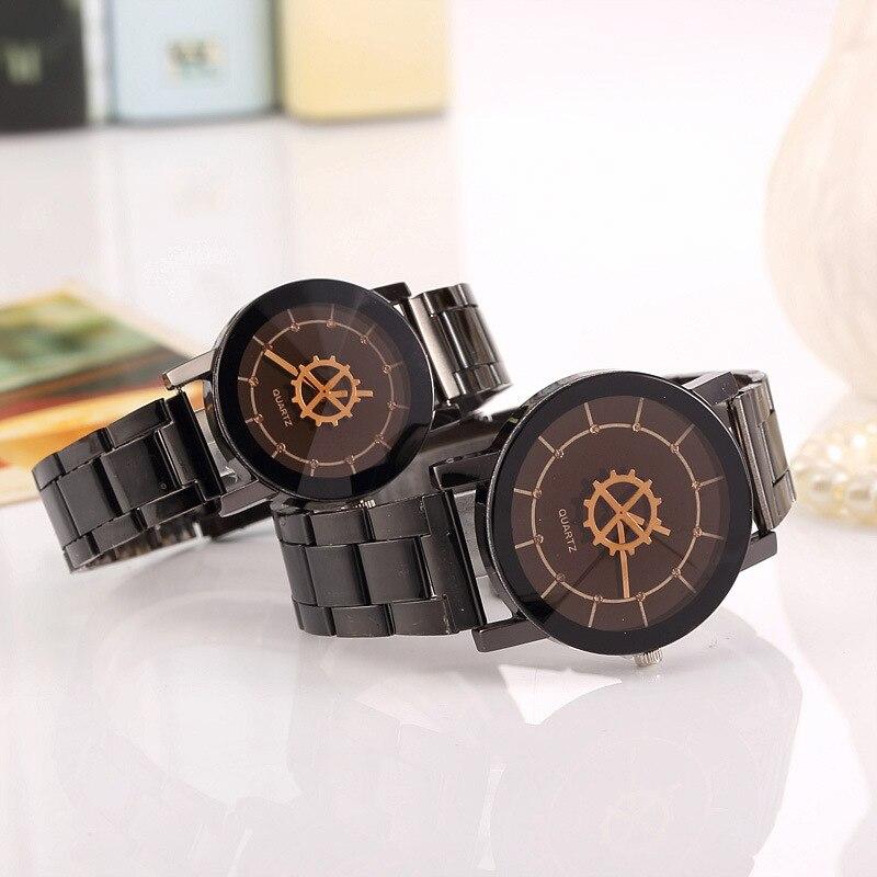 Men's Quartz Relogio Masculinos Dial Glass Time Men Women Clock Stainless Steel Business Round Case Hour Watch Relojes Hombre