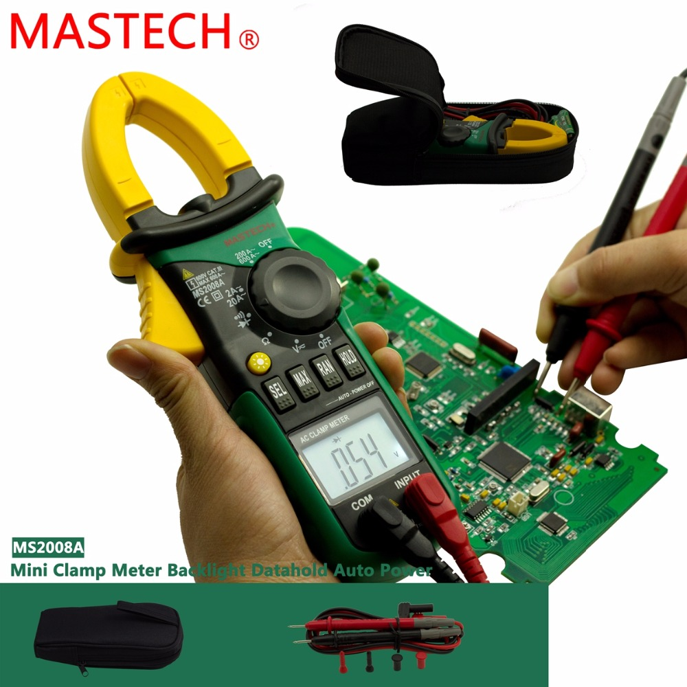 Wholesale MASTECH MS2008A Digital Clamp Meters Auto Range Clamp Ammeter Voltmeter Ohmmeter w/ LCD Backlight Current Voltage Test
