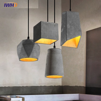 Brief Loft Nordic Style Wood Cement Pendant lights Retro Industrial Light led E27 Edison Bulb Light Fixtures Restaurant living tsleen free shipping vintage loft nordic classic e27 e26 led retro edison bulb pendant lights ceiling golden light fixtures