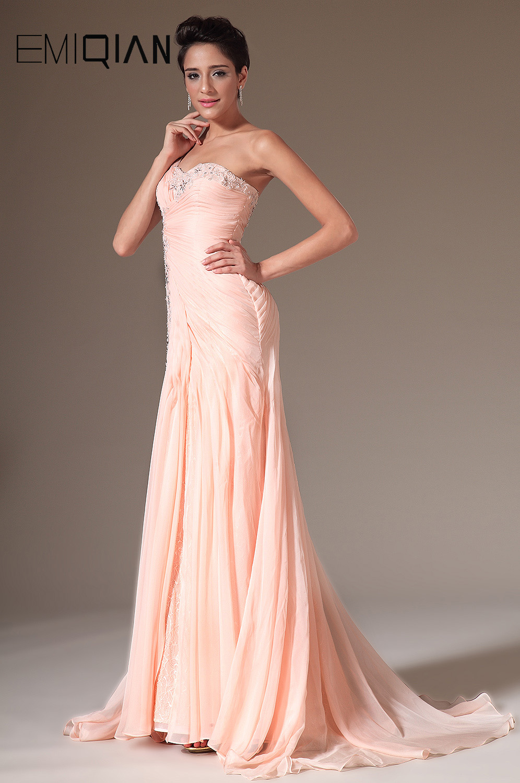 2014 Ny Rosa Charmig En Axel Handgjord Blommor Beading - Särskilda tillfällen klänningar - Foto 3