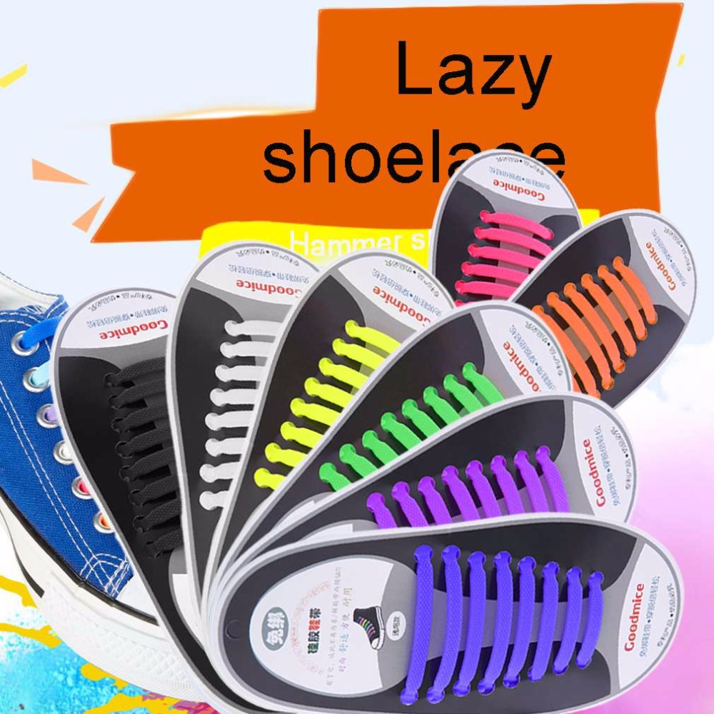 16pcs/set 2017 New Sneakers Fit Strap Colorful Shoelaces Design Lock Flat Lazy No Tie Shoelace Elastic  Fit For All Sneakers 45 neon orange 5 16 flat shoelace for all basketball shoes