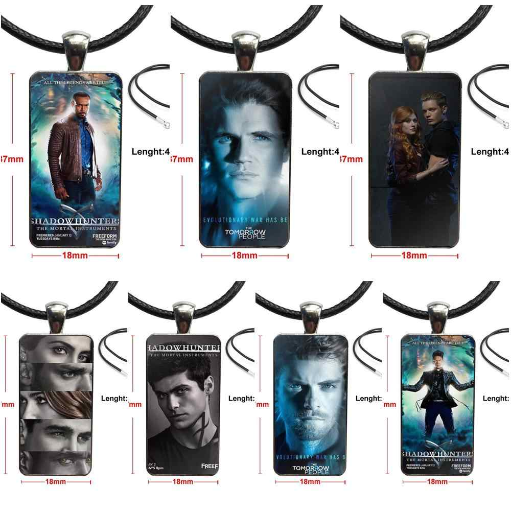 For Women Choker American Tv Series Shadowhunters Glass Cabochon Choker Pendant Rectangle Necklace Stainless Steel Color Jewelry