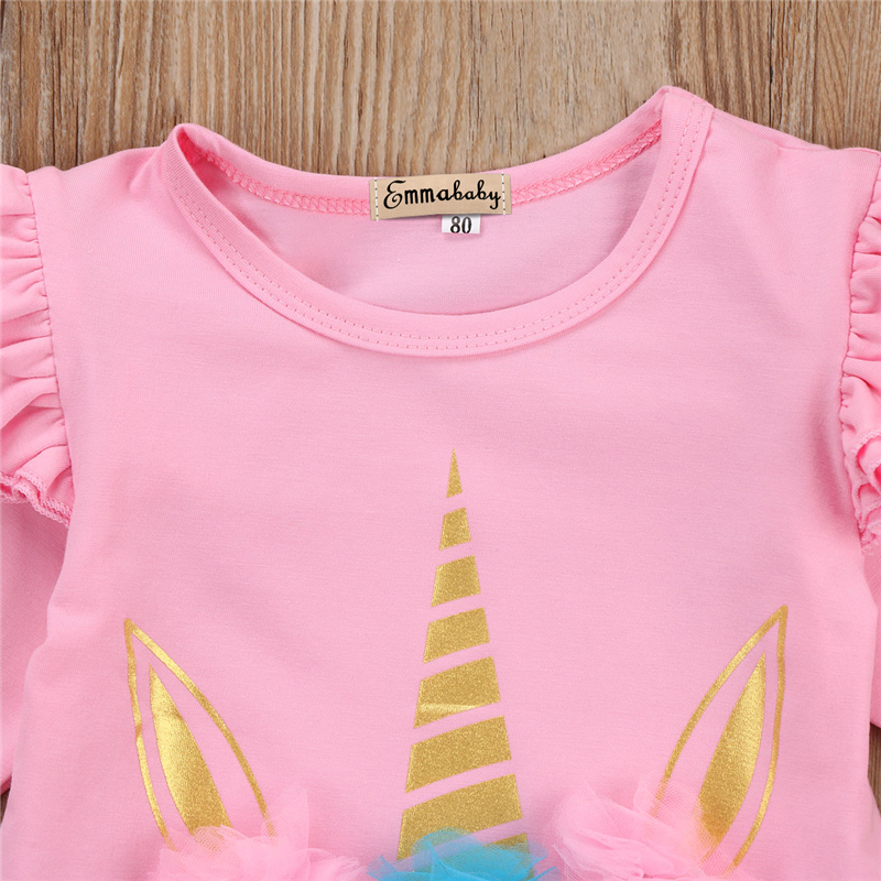 cd51711fb3ed5 US $4.4 14% OFF|New Year's Costumes For Girls Cute Baby Girl Unicorn Romper  Floral Fall Baby Clothing Newborn Infant Babys Girl Overalls Clothes-in ...