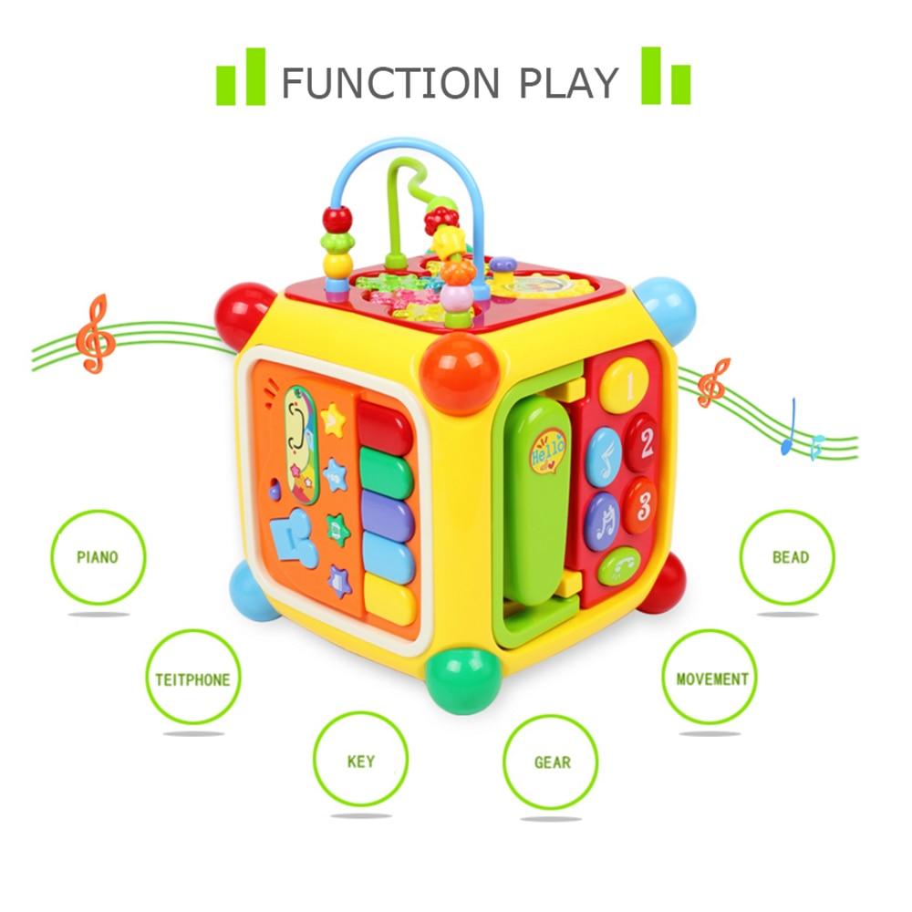 GOODWAY 6 en 1 métodos de juego bebé juguetes con música de Piano teléfono Función de engranaje colorido alrededor perlas bloques educativos seguros juguete