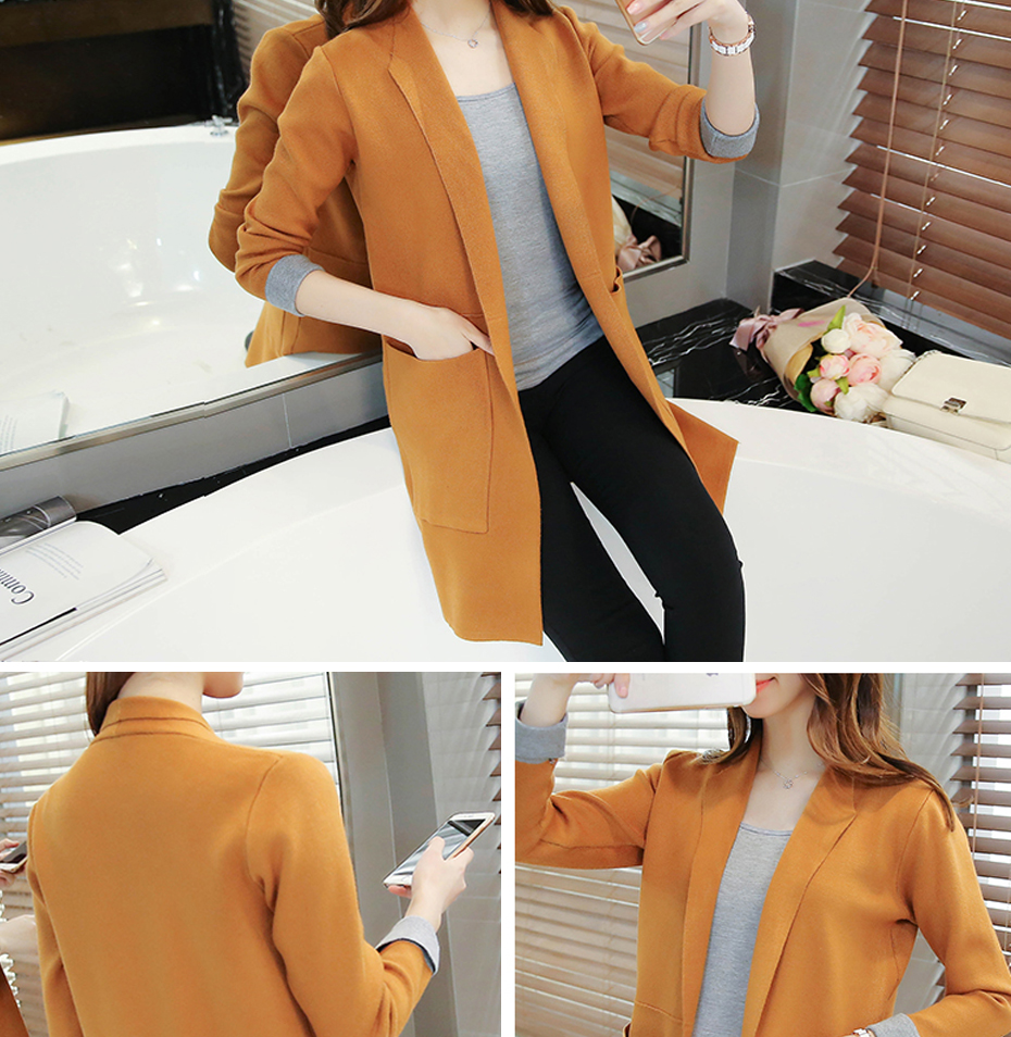 TIGENA Long Cardigan Female 2018 Autumn Winter Women Long Sleeve Cardigan Sweater Knitted Cardigans For Women Jacket Tops 7
