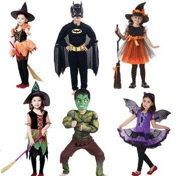 Детские костюмы для косплея ведьма Бэтмен Халк супергерой карнавал Хэллоуин костюмы для косплея девочек и мальчиков
