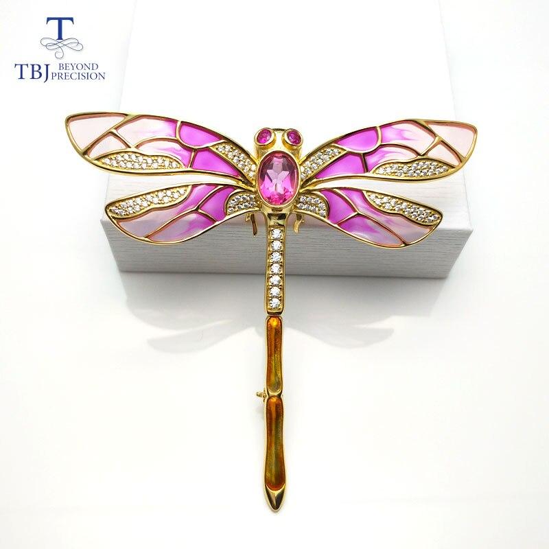 TBJ, broche design libellule rouge avec topaze rose naturelle en argent sterling 925 couleur or jaune, broche élégante pour femme dame