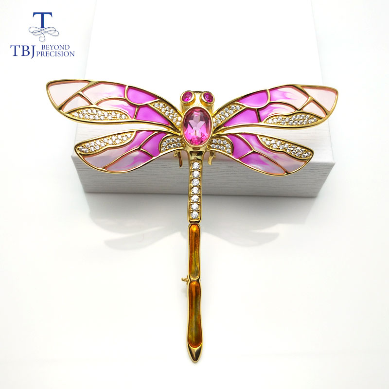 TBJ,red dragonfly design brooch with natural pink topaz in 925 sterling silver yellow gold color, elegant brooch for women lady active contrast color stitching zip design tracksuit in red
