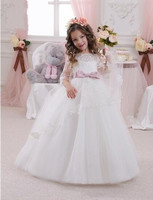 White Puffy Flower Girl Dress Kids Ball Gown First Communion Dresses Pageant Girls Glitz Custom Made