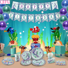 QIFU Little Mermaid Wedding Party Decoration Disposable Tableware Set Plate Banner Birthday Supplies