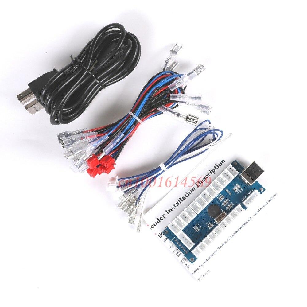 Zéro Retard LED USB PC Joystick Encodeur Pour MAME Multicad soutien 2 Broches + Arcade LED Bouton PC Ordinateur Contrôleur Jeux