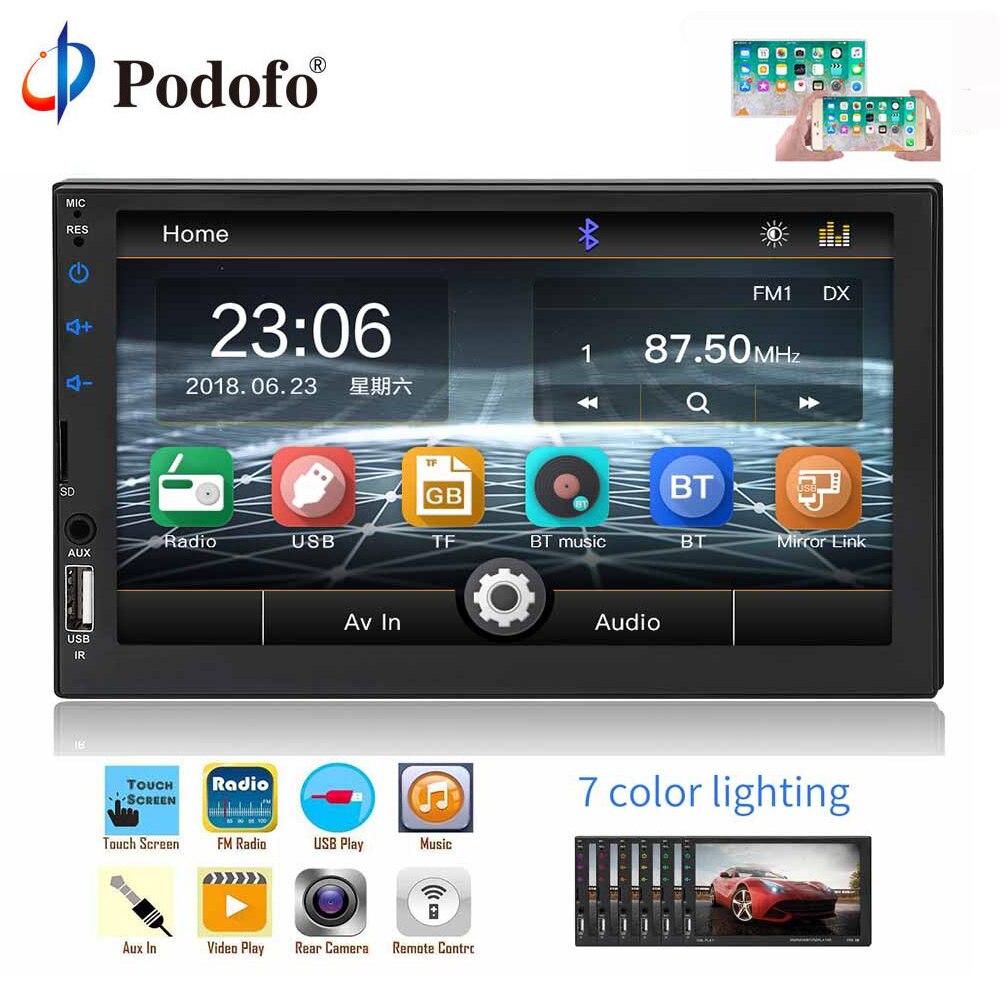 Podofo 2 Din lecteur multimédia de voiture WIFI Bluetooth USB Radio stéréo 2 din 7 ''universel miroir lien Autoradio Audio caméra de sauvegarde
