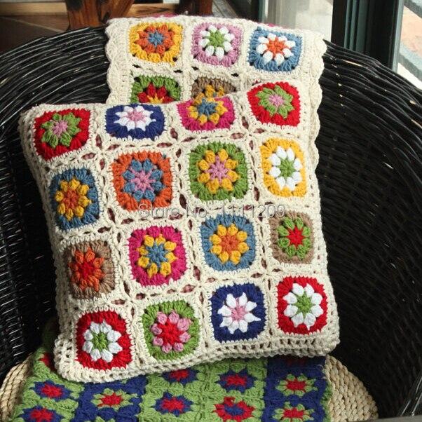 Nórdico de alta Calidad Crochet cama almohada cojín tejido a mano de ...