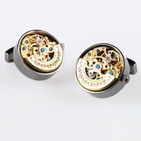 2017 New Mens High Quality French Functional Watch Movement Cufflinks Stainless Steel Motion Shirt Cufflink Gemelos
