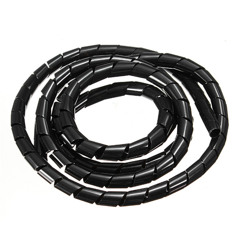 1M Durable Spiral Wire Wrapping Tube Manage Cord for PC Computer Home Cable 4-50MM Lowest Price 6m 20ft long 12mm wire spiral wrap wrapping sleeving band cable black white x 2