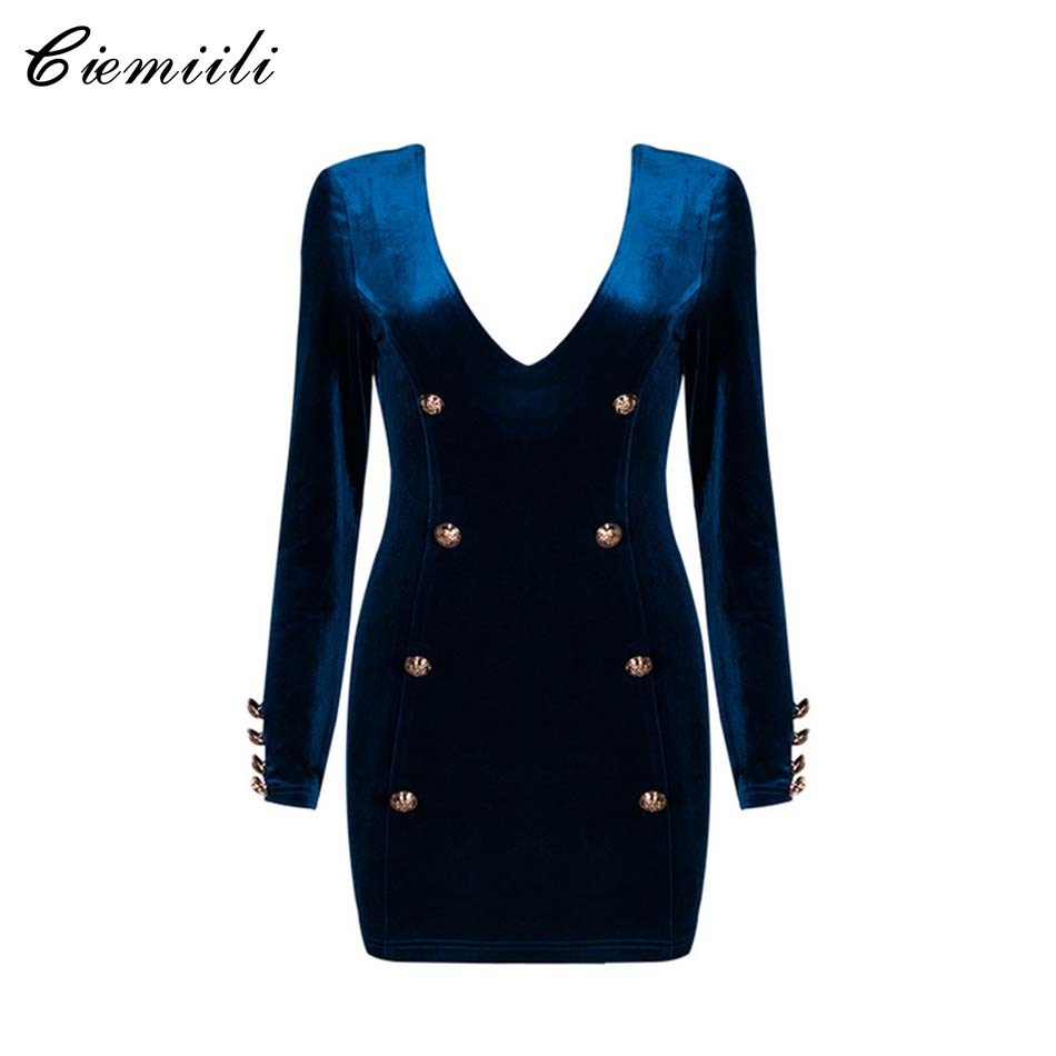 CIEMIILI 2017 Summer New Women Sexy Velvet Dress Royal Blue Evening Party Deep V-neck Button Dresses Long Sleeve Casual Vestidos sexy knitted long sleeve deep v neck pack hips women dress fashion solid mini sheath summer dresses new 2017 casual vestido s xl