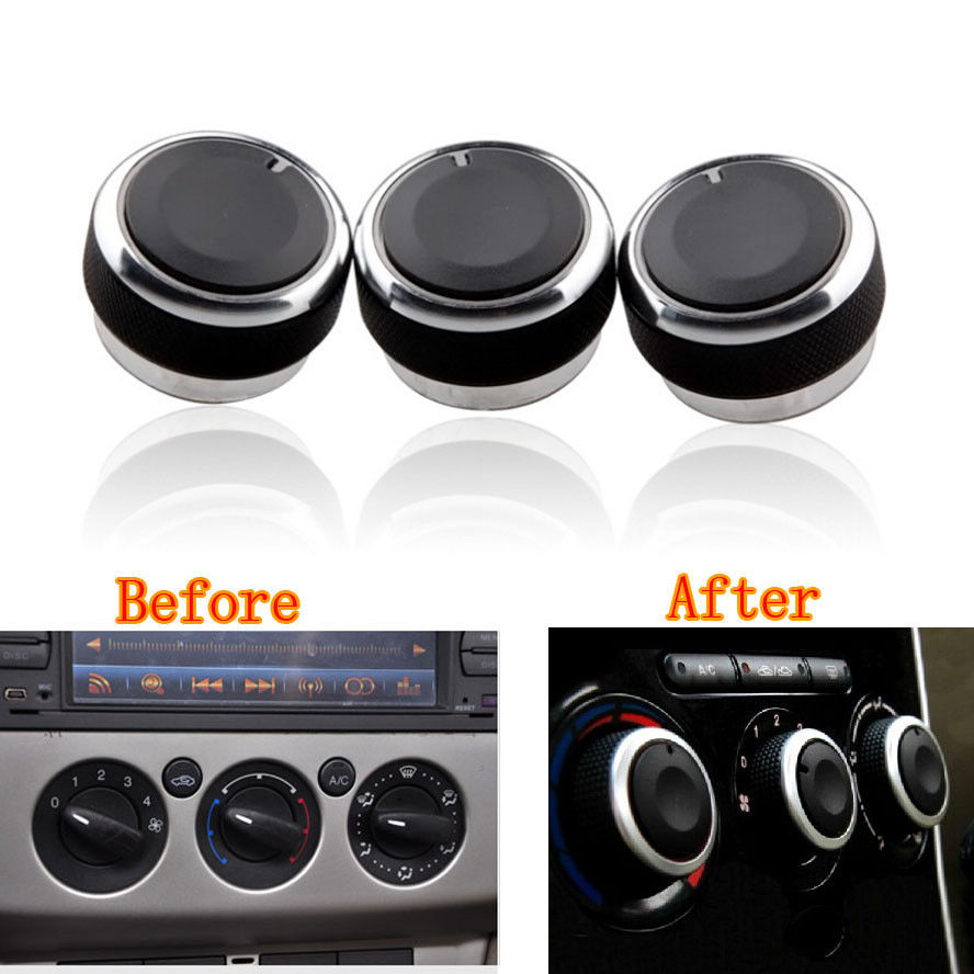 3x Air Condition Heat Control Panel Switch Knob Buttons