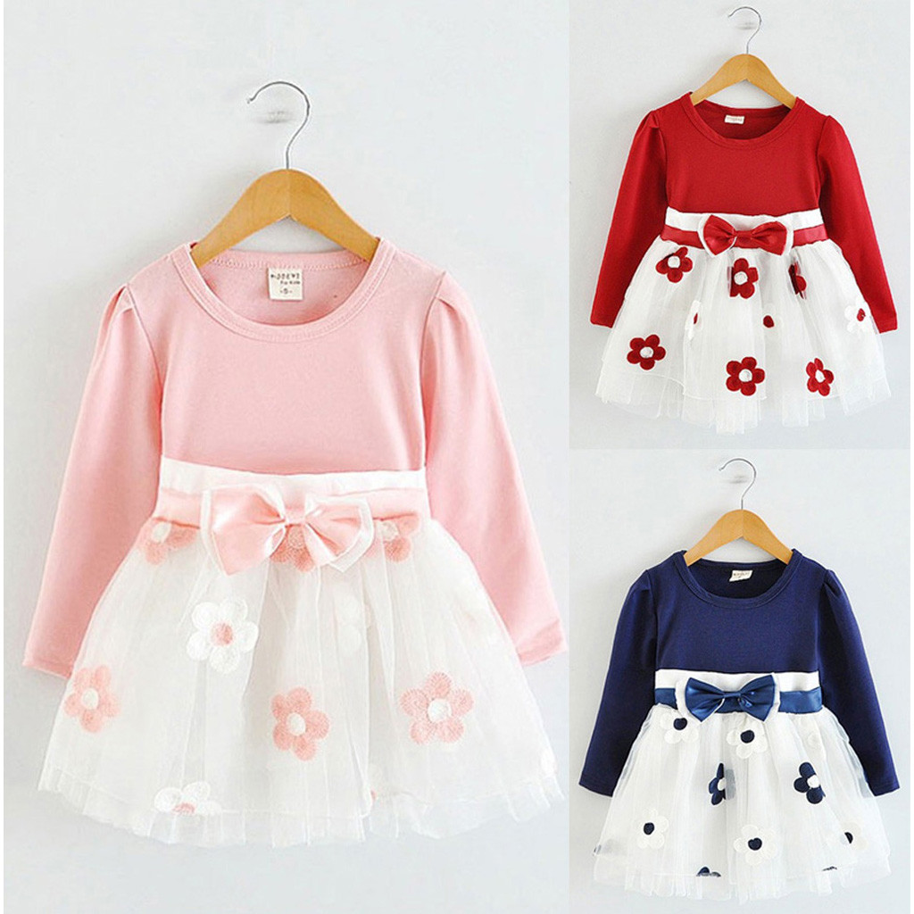 Girl Dress Long-Sleeve Toddler Princess Kids Patchwork Bow for 6m-5y/C50/Flower-Bow Tulle