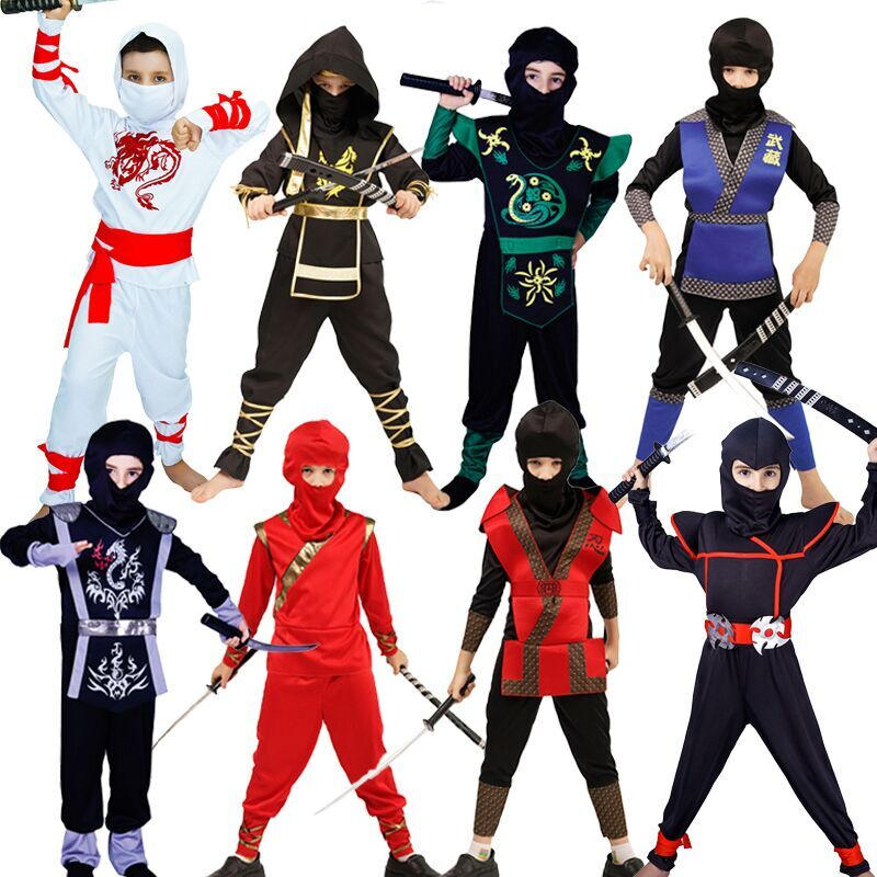 Boys Golden Dragon Ninja Costume Cosplay Assassin Ninja Clothing Kids Halloween Costumes