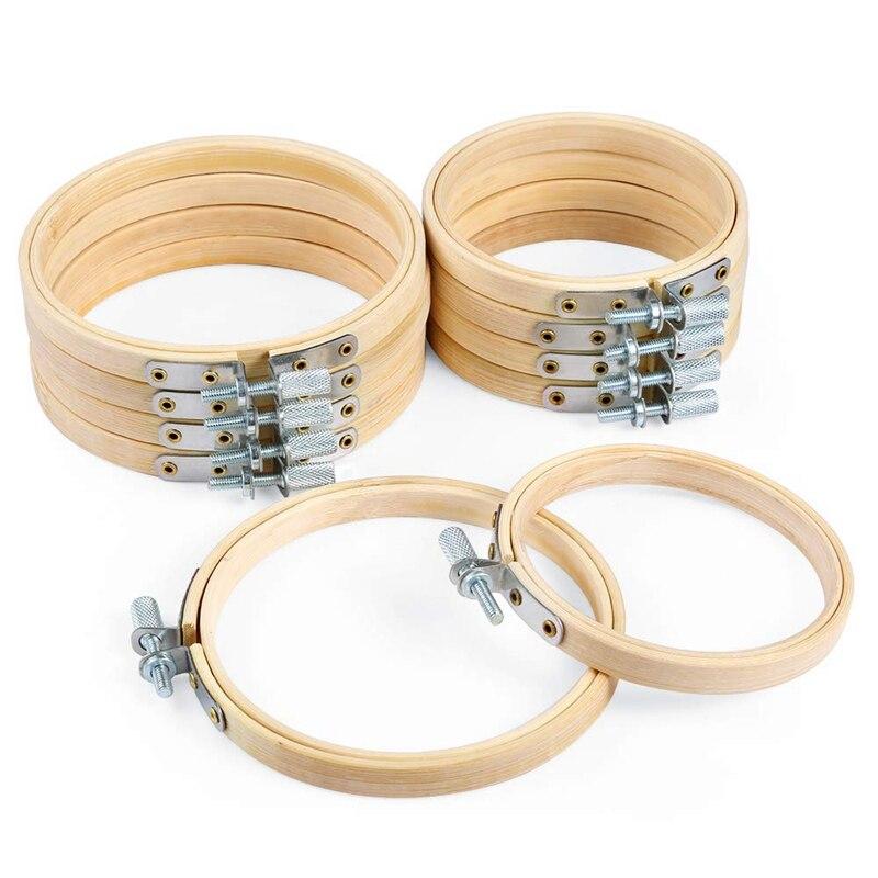 6 Diferentes tama/ños de forma redonda Pr/áctica m/áquina de punto de cruz de madera Bordado Aro de anillo Herramienta de costura de bamb/ú Accesorio Color:wooden color