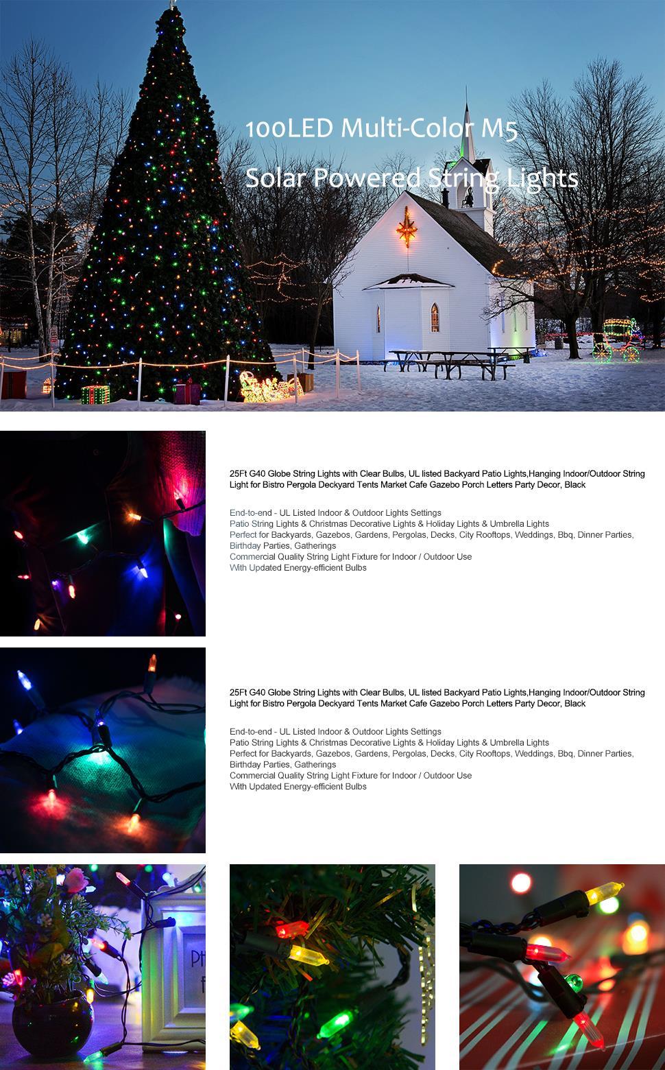 Dcoo M5 Solar String Lights Led String Light 100 Light Fairy ...