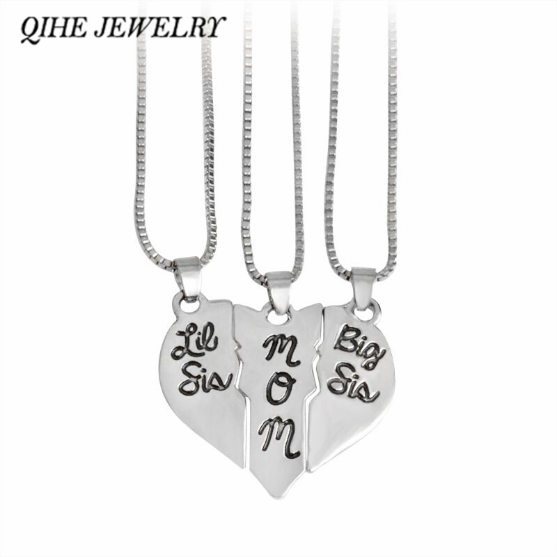 QIHE JEWELRY 3pcs Hand Stamped little sis mom big sis Broken Heart Shaped Pendant Necklace Family Jewelry Gift Mom Mother Day