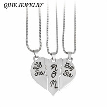 "QIHE JEWELRY 3pcs ""little sis mom big sis"" Broken Heart Shaped Pendant Necklace Family Jewelry Gift Mom Mother Day(China)"