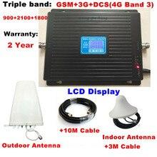 De triple Banda GSM 900 1800 2100 MHz 2G 3G 4G teléfono celular repetidor de señal + log-periódico + antena de techo + cable + adaptador para Europa
