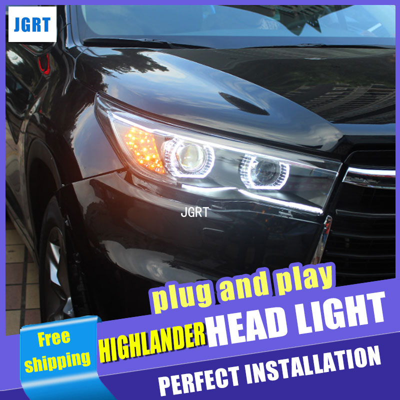 car styling for Toyota Highlander Headlight assembly 2015 New LED Turn Signal DRL H7 HID Bi-Xenon Lens Low H7 with hid kit 2pcs 1pc 2 5 hid xenon ultimate bi xenon projector lens parking car styling headlight diy lamp for h1bulb with shrouds h4 h7 socket